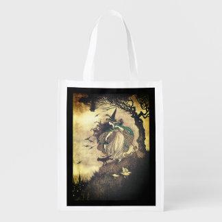 Reusable Vintage Halloween Witch Treat Bag