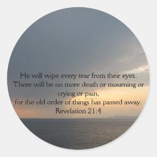 Revelation 21:4 round sticker