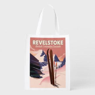 Revelstoke  British Columbia, Canada Ski poster Reusable Grocery Bag