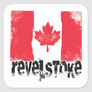 Revelstoke Grunge Flag Square Sticker