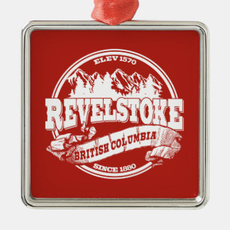 Revelstoke Old Circle Red Metal Ornament