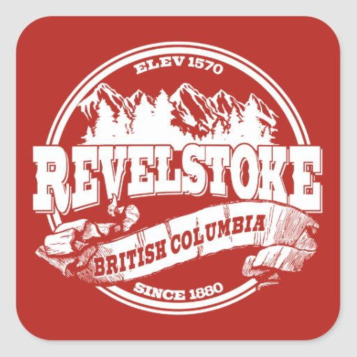 Revelstoke Old Circle Red Square Sticker
