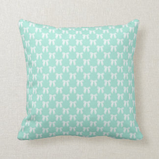 Reversable Cool Mint Pastel With White Bows Cushion