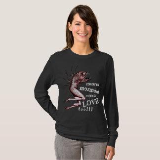 Reverse mermaid needs love black ladies shirt