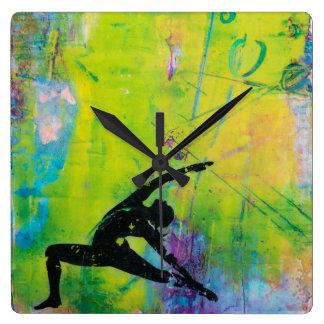 Reverse Warrior Yoga Girl Square Wall Clock