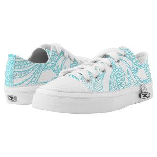 Reversed Pattern, Boho Aqua Printed Shoes