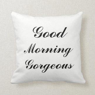 Reversible Black & White GOOD MORNING GORGEOUS Tex Cushion