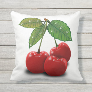 Reversible Black&White Retro Cherry Outdoor Pillow