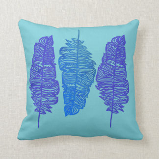 Reversible Blue Feather Throw Pillow