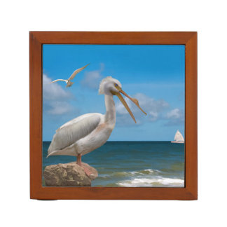 Reversible Brown and White Pelicans Desk Organiser