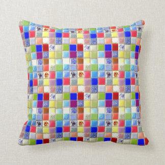 Reversible Ceramic Tiles Throw Pillow