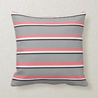 Reversible Coral, Gray White, Black Stripe Pillow