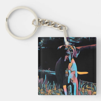 Reversible English Mastiff Double-Sided Square Acrylic Key Ring