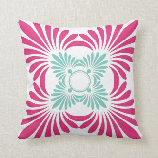 Reversible Fuschia Pink And Mint Green Floral Cushion