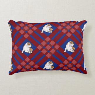 Reversible Gingham Bulldog Decorative Cushion