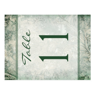 Reversible Green and Ivory Floral Table Number Postcard