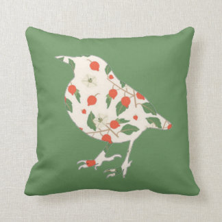 Reversible Green Ivory Bird Patchwork Quilt Throw Pillow