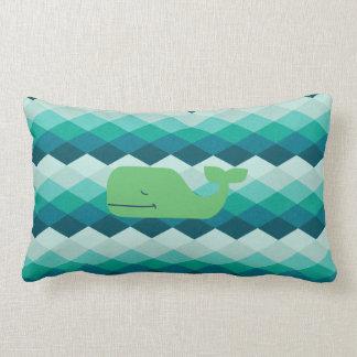 Reversible Green Whale Lumbar Cushion