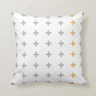 Reversible Grey + Orange Cross Cushion