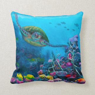 Reversible Hawaii Beach & Sea Turtle Throw Pillow