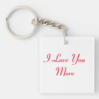 Reversible I Love You More Double-Sided Square Acrylic Key Ring