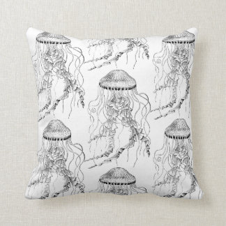 Reversible Jellyfish Pillow in Black and White