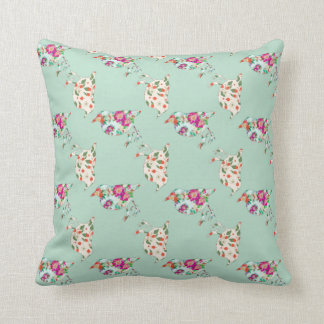 Reversible Mint Green Bird Patchwork Quilt Throw Pillow