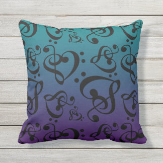 Reversible Music Hearts Teal & Purple Ombre Outdoor Cushion