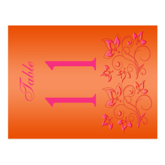 Reversible Pink and Orange Floral Table Number Postcard