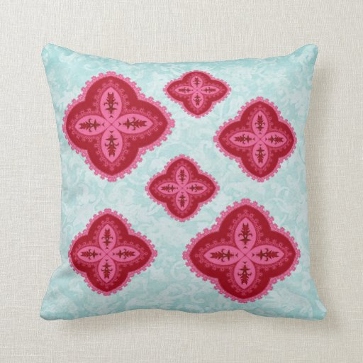 Reversible Pink Red Pale Aqua Lace Retro Flowers Throw Pillows
