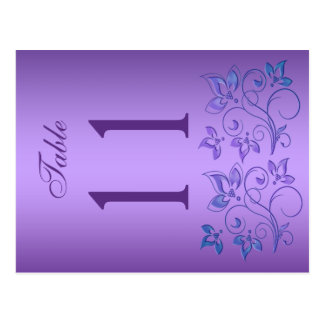 Reversible Purple and Blue Floral Table Number Postcard