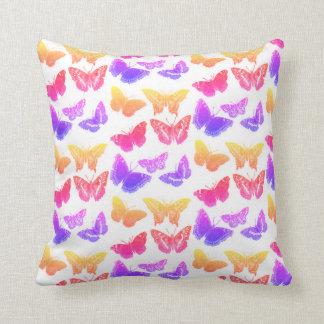 Reversible Rainbow Butterflies Throw Pillow