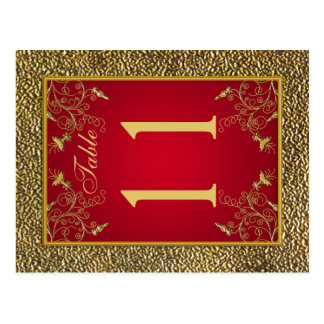 Reversible Red and Gold Floral Table Number Postcard