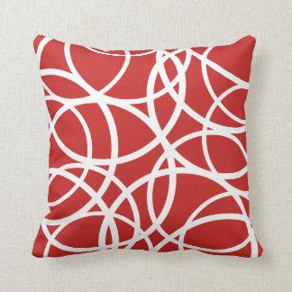 Reversible Red/White Circle Pattern Pillow