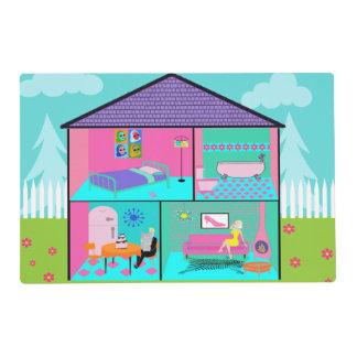 Reversible Retro Living Dollhouse Placemat Laminated Placemat