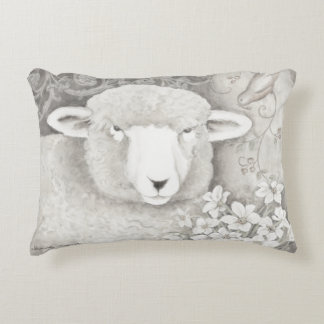 Reversible soft sheep & cow pillow in neutrals