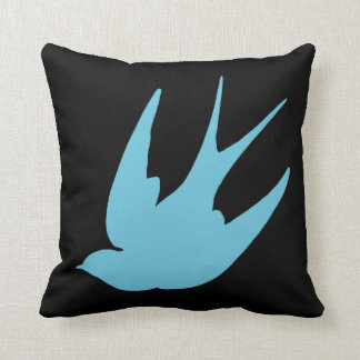 Reversible Swallow Swallows Punk Cotton Pillow