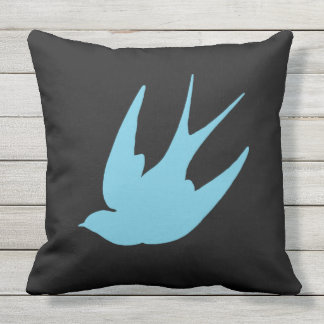 Reversible Swallow Swallows Punk Outdoor Pillow