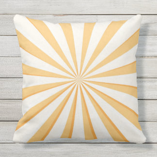 Reversible Yellow Starburst and Polka Dots Outdoor Cushion
