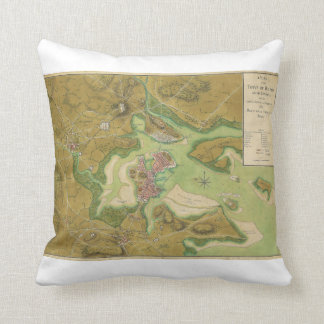 Revolutionary War Map of Boston Harbor 1776 Pillow