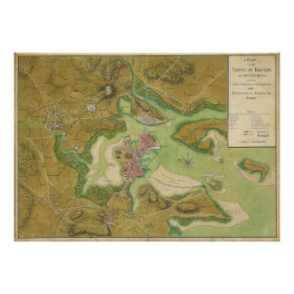 Revolutionary War Map of Boston Harbor 1776 Poster