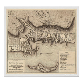 Revolutionary War Newport Map - 1777 Poster
