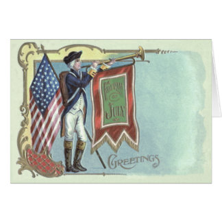 Revolutionary War Soldier American Flag Horn Greeting Card