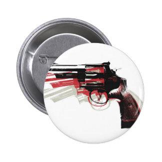 Revolver on White 6 Cm Round Badge