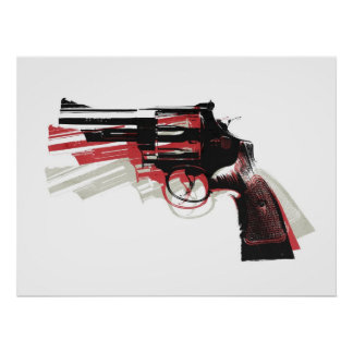 Revolver Pistol Gun on White Poster