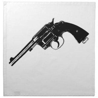 Revolver Silhouettes in Deep Black Napkin