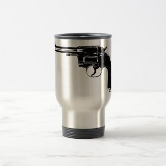 Revolver Silhouettes in Deep Black Travel Mug