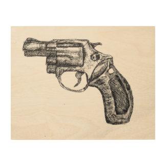 Revolver sketch wood wall art