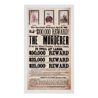 Reward Poster for Lincoln's Assassination 1865