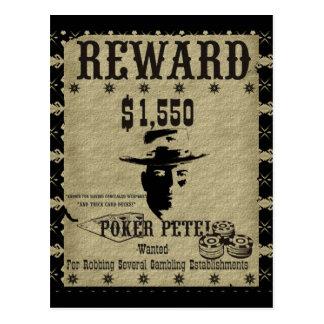 Reward Poster Poker Pete Post Card